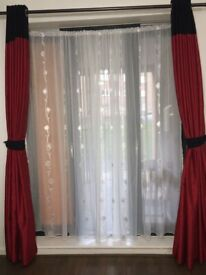 Red ringlet curtains