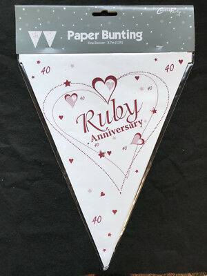 Ruby Wedding Party Bunting 40th Wedding Anniversary Flag Banner Decoration - Ruby Wedding Anniversary Banners