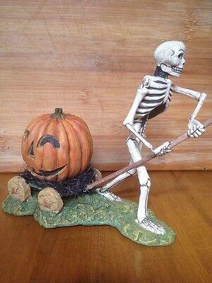 Bethany Lowe Bruce Elsass Halloween Skeleton Pulling a Pumpkin Wagon--retired
