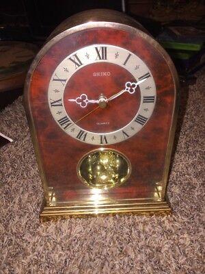 Seiko QW530 G-1 Brass & Glass  Mantel Table Quartz Clock Box Papers Anniversary
