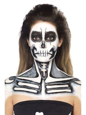 Halloween Make Skelett (4-teiliges Schminkset Skelett Flüssiglatex Körperschminke Make-up FX)