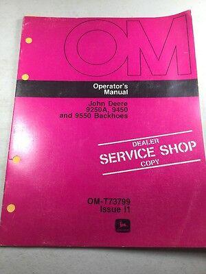John Deere 9250a 9450 9550 Backhoe Dealer Service Shop Copy Operators Manual