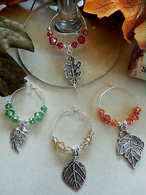 4 Wine Glass Charms Fall Leaves - Holiday Gift Idea or Thanksgiving Table Decor ()