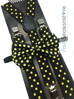 Black w/ Yellow Dot Bow Tie And Suspender Matching Set Tuxedo Wedding Party - Yellow Bow Tie And Suspenders