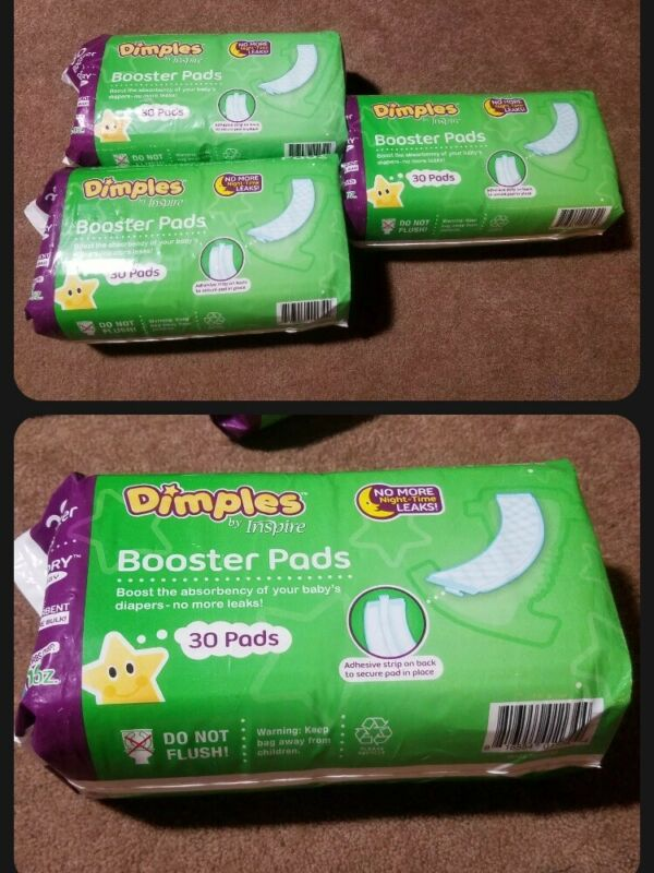 Dimples by Inspire Booster Pads Double Adhesive For Baby Diaper 3-pack 90 Count