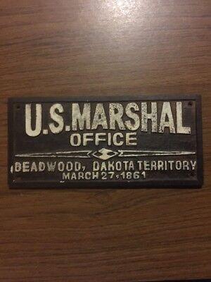 "Deadwood Saloon South Dakota Territory Solid Metal Plaque 7 1/4 x 3 1/4"" NR"