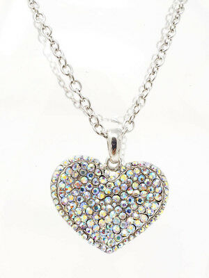 AB RHINESTONES HEART CHARM CHAIN NECKLACE PENDANT LOBSTER CLASP *SKANKY HOOPS*