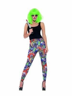 Creepy Clown Leggings, Halloween Cirque Sinister Fancy Dress, UK Size 8-10 - Creepy Clown Kostüm