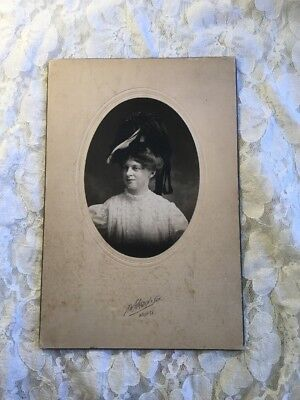 ANTIQUE 1800's Cabinet Card Fashion Fancy Hat Young Woman Wichita