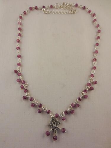 LOT OF 6 Dangling Silvertone Bohemian Purple Glass Bead Pendant Necklaces