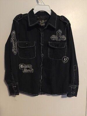 Boys Rebel Spirit Size 4 Shirt Black Embroidered Long Sleeves Button Front GS115 Rebel Spirit Black Button
