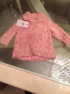 Designer Baby Girls Dusty Pink Fur Jacket. Size 12-18 Months