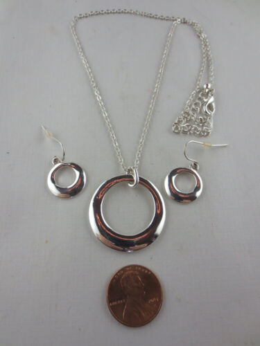 LOT OF 5 SETS Silver Plated Hoop Pendant Necklace and Dangling Hoop Earrings SET