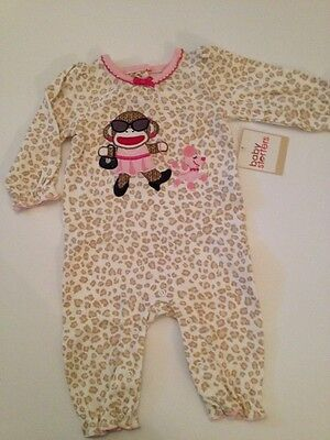 Sock Monkey Baby Girl Coverall Pajamas Size 3 6 9 12 Months Cheetah Ivory - Sock Monkey Girl