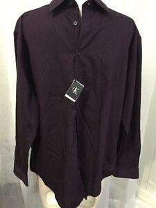Calvin klein slim fit purple amp black striped men 039 s for Dress shirt fitted vs slim