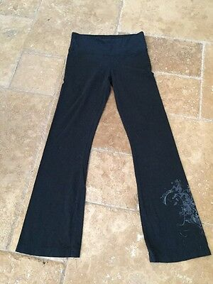 Eco Yoga Black Organic Cotton/Bamboo Yoga Boot Cut Pants w/ Design On Leg Sz S