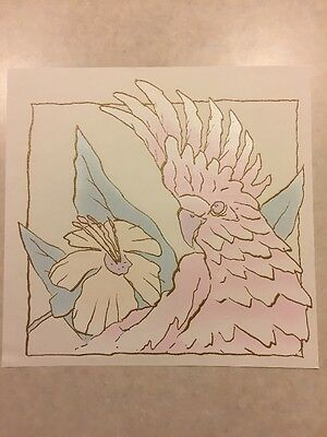 Vintage T-shirt Heat Transfer Cockatoo With Flower