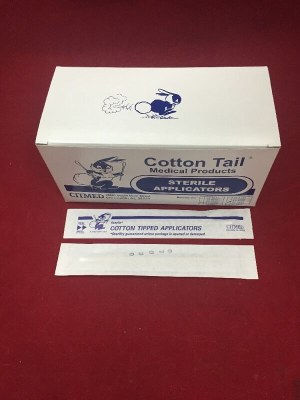 New Case Of 1000 Citmed Cotton Tail Sterile Wooden Cotton Tipped Applicators 6""