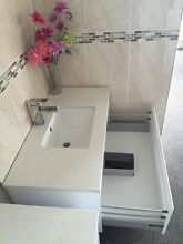 900mm gloss white bathroom Stone Top wall hung vanity Clayton Monash Area Preview