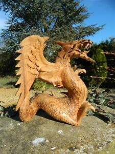 Wooden Dragon Carving with wings 20cm