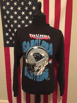 vtg Carolina Panthers Sweatshirt mens LARGE nfl football black made in usa (Black Carolina Panthers Sweatshirt)