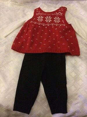 Carter's Baby Girl Layette 3 Pc Red White Black Pants Bodysuit Pullover 3 Months