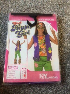 Child 60s Flower Hippy Lady Girl Costume Hippie Girl Size L 8/10 Yrs