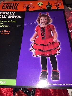 Toddler Infant Dress Up Costume 2-4 Frilly Lil Devil Little Devil Girl New Red