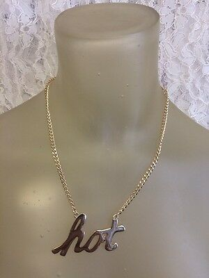 Gold Tone Script Necklace   H O T   By Express In Lower Case Letters Cursive