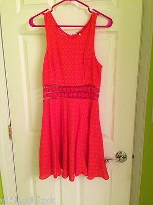 Free People BEST SELLER Daisy Waist Fit 'n Flare Dress Sz 10 M RED