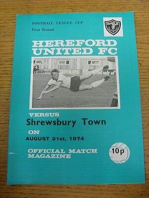 21/08/1974 Hereford United v Shrewsbury Town [Football League Cup] (Light Crease
