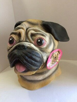 Adult Pug Costume (Pug Dog Head Costume Latex Mask Adult Halloween Funny XMas Cosplay Archie)
