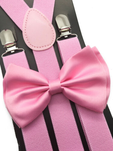 Pink Suspender + Clip On Bow-tie Matching Set For Adults Men Women