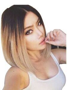 Ombré blonde middle bob wig available for sale