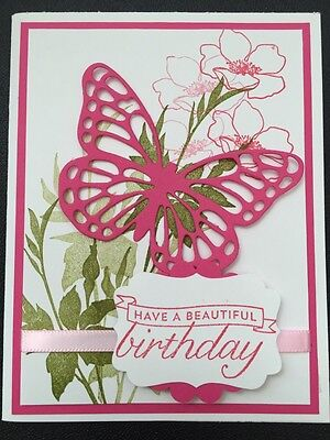 "Stampin Up Card Kit Set Of 4 ""Have A Beautiful Birthday"" Pink Large Butterfly"