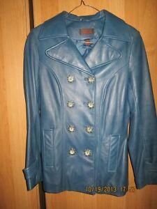 ladies blue leather coat $60 Kitchener / Waterloo Kitchener Area image 1