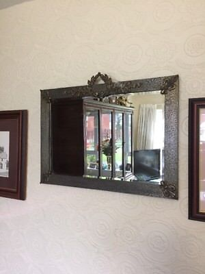 Arts & Crafts? Metal Framed Bevelled Mirror, Wreaths & Fleur-De-Lis Decoration