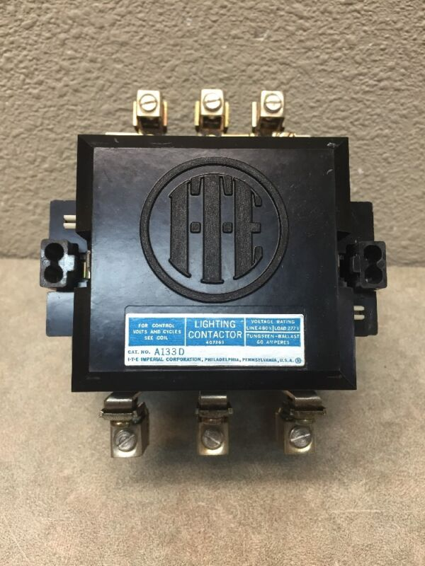 ITE A133D A133D LIGHTING CONTACTOR 3 POLE 60 AMP OPEN TYPE 120 VOLT COIL NEW