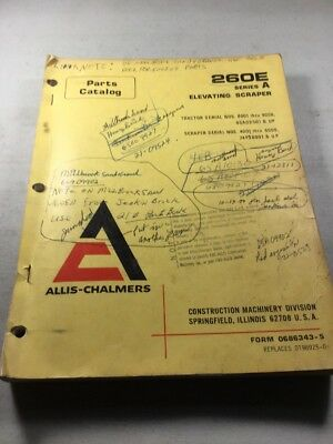 Allis Chalmers 260e Series A Scraper Parts Catalog Manual