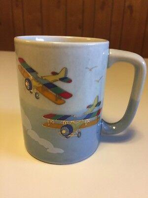 Vintage Otagiri Airplane Biplane Coffee Mug Cup Japan