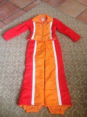 VTG Number 1 Sun Ski Suit Pants Jacket Striped Adult Medium puffer 14 F/S VG