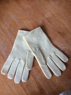 Sweet Vintage Yellow Nubby Nylon Stretchy Children's Gloves No Size