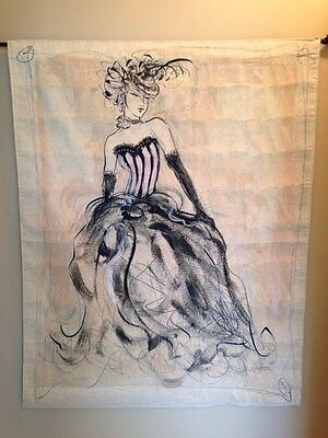 Fashion Art Model Flowing Corset Gown Jacquard Woven Tapestry Wall Hanging (Woven Wall Fashion)