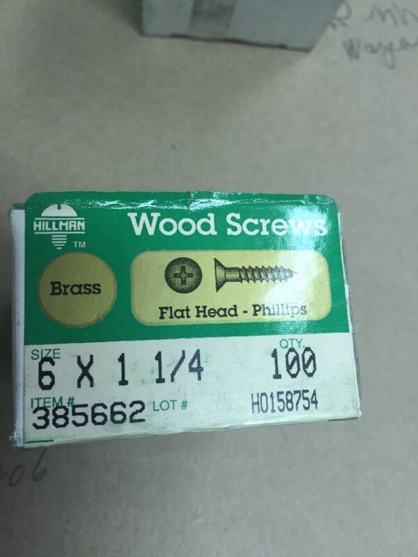Vintage # 6 X 1 1/4 Flat HEAD BRASS Phillips WOOD SCREWS-100 PER BOX Hillman