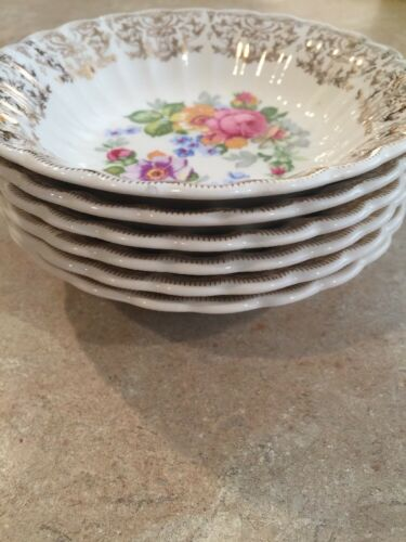 "5 Salad Bowls Limoges La Marr Pattern 5 1/4"" Wide Gold Trim"