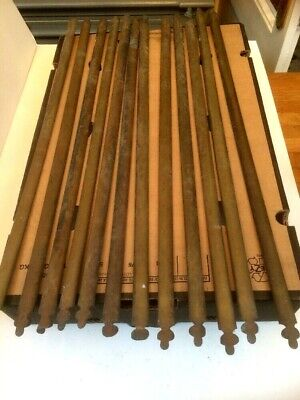 VICTORIAN ARTS CRAFTS ANTIQUE BRASS CARPET RODS FOR STAIRS 12 x 26-27