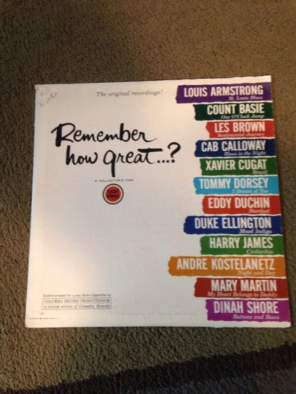 Jazz Vinyl Remember How Great? A Collectors Item from Lucky Strike, Columbia 33