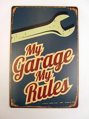 Retro Blechschild My Garage My Rules Nostalgie Metallschild Wanddeko Vintage USA