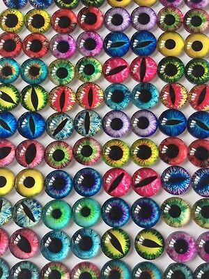 20 EYE GLASS CABOCHONS 12MM-CAT/DRAGON-FLATBACK/JEWELLERY/GEMS-EYES CABOCHON
