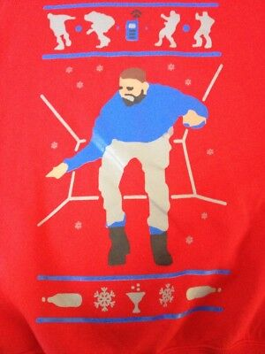 """DRAKE Hotline Bling Ugly Christmas Sweater Xmas Red Sweatshirt Shirt Mens M 42"""" for sale  Shipping to Canada"""